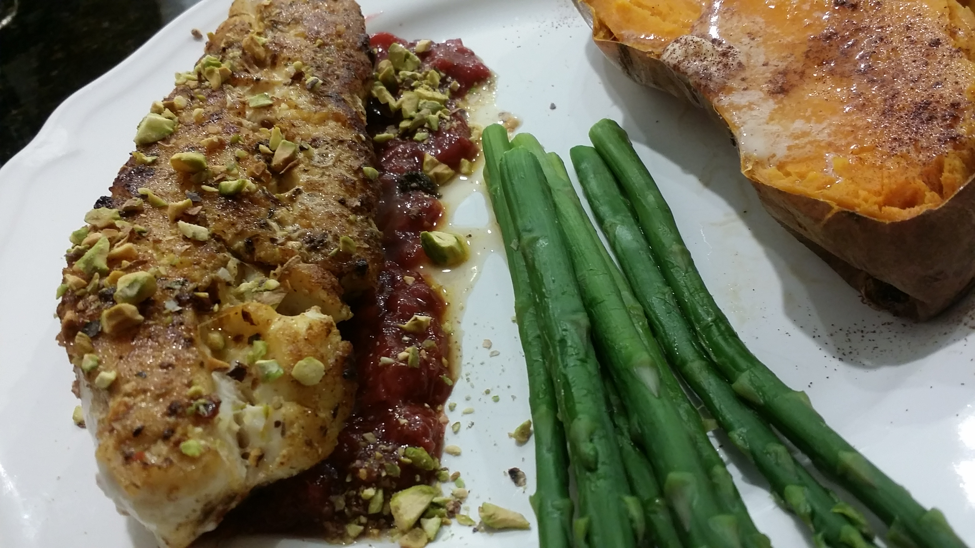 Red Grouper, Asparagus and Sweet Potato Dinner