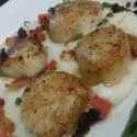 Pan Fried Scallops with Smoked Gouda Grits