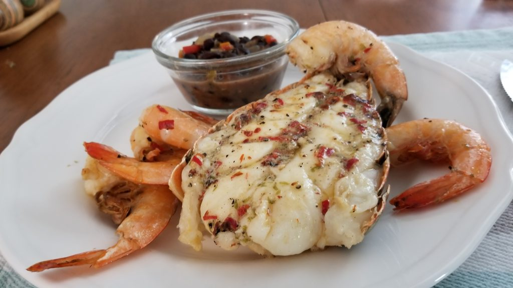 Grilled Florida Lobster and Shrimps w/Spicy Key Lime Butter