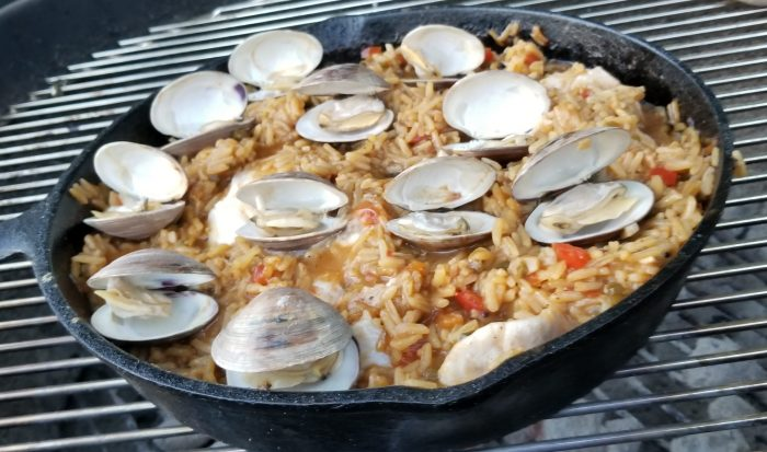 Seafood Paella ready to come off the grill