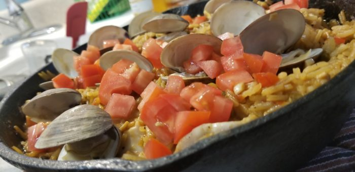 seafood paella ready for plating