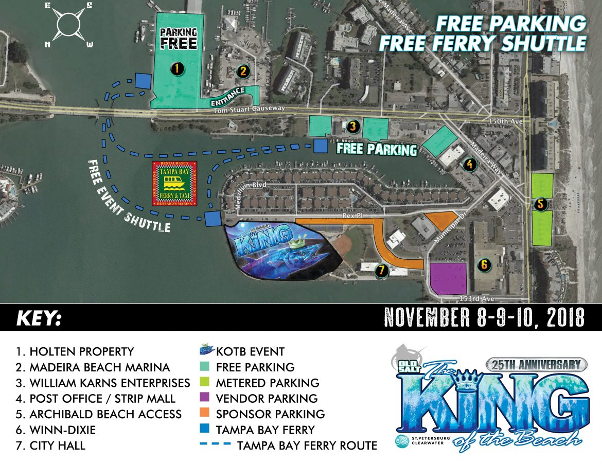 Parking Map for Old Salt king of the Beach Fishing Tournament