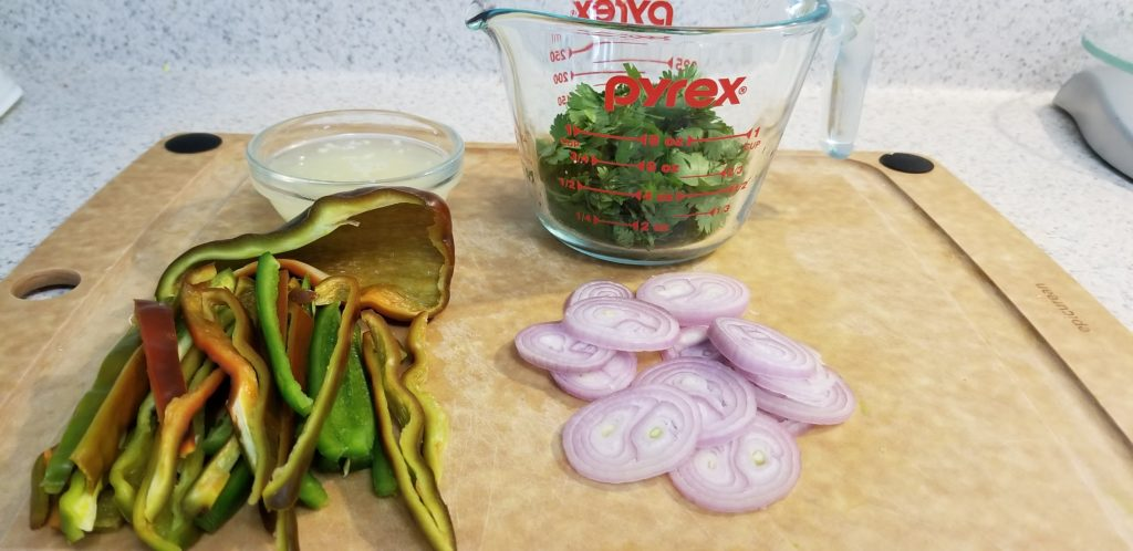 peppers, cilantro, shallots and garlic